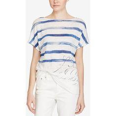 Lauren Ralph Lauren Short-Sleeve Linen Top (£23) ❤ liked on Polyvore featuring tops, multi, lauren ralph lauren tops, linen tops, white summer tops, white striped top and short sleeve summer tops