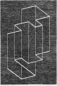 this is nice! reminds me of echochrome. i miss it!    Josef Albers - Multiplex B, 1948 #woodcut