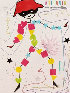 Le blog de maman Clémentine: L'art est un jeu d'enfant #7 : Arlequin en gommettes [DIY]