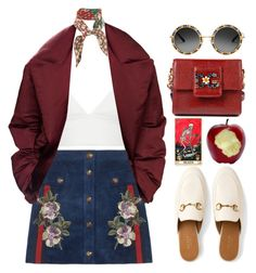 """""""Sweet Lies"""" by sazyc ❤ liked on Polyvore featuring Gucci, T By Alexander Wang, Dolce&Gabbana, NYFW, burgundy and gucci"""