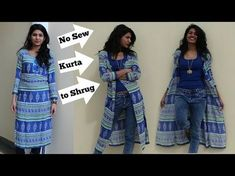 no sew convert kurta into shrug T-shirt Refashion, Diy Clothes Refashion, Refashioned Clothes, Repurpose Clothing Refashioning, Thrift Store Refashion, Upcycled Clothing, Kimono Diy, Diy Clothes Kimono, Diy Kleidung Upcycling