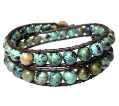 Men's wrap bracelet classic B8 African Turquoise