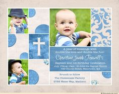 Sample Of Invitation Card For Christening And 1st Birthday. Baptism Birthday Invitation  Blue Cream Double Holy Photos 1st birthday and christening baptism invitation sample