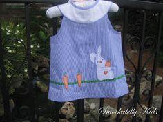Girls Blue Stripes Bunny Applique Dress!