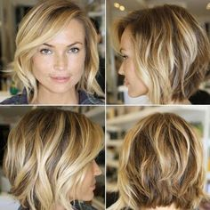 This is an amazing new look for a bob-cut, which is lightly graduated at the back down to the front lengths. The three harmonised colours are applied to create a fabulously random pattern at the sides, accentuating the defined strands and wavy movement around the face. The side-parting is asymmetrical to create an attractive sweep …