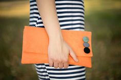 orange CLUTCH  small decorated colored dots with belt  by bandabag