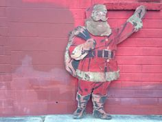 Large Antique Coca-Cola santa / Wooden Standing by SouthernGilt