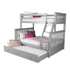 Harriet Bee Schofield Bunk Bed with Trundle Size: Twin Over Twin , Bed Frame Color: Gray Loft Bed Frame, Bunk Bed With Trundle, Full Bunk Beds, Kid Beds, Girl Room, Girls Bedroom, Toddler Bed Frame, Fantasy Bedroom, Bed Sizes
