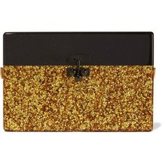 Edie Parker - Small Trunk Glittered Acrylic Box Clutch ($763) ❤ liked on Polyvore featuring bags, handbags, clutches, gold, hard clutch, lucite purse, brown purse, clasp handbag and brown handbags