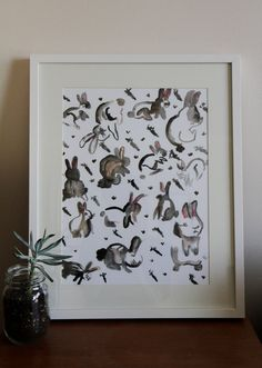 Watercolour Art print of rabbits by Teganblittle,  great for a baby shower gift or kids room