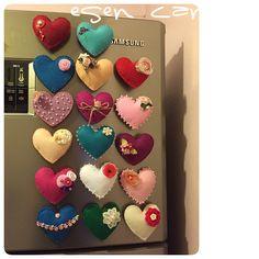 keçe, keçe kalp, keçe magnet, magnet, felt, feltro, felt heart, felt magnet