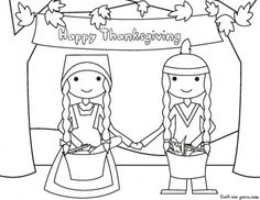 Happy Thanksgiving native and pilgrims coloring page - Printable Coloring Pages For Kids