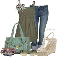 White sandals with a green feminine top and denim