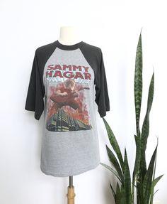 6a31b86963f Vintage 1983 Sammy Hagar 80s concert t-shirt Burning Across The States w   the Red Rocker Tour Van Halen 1980s band tee w  TICKET STUB