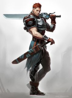 Warrior, duel swords, man, male.