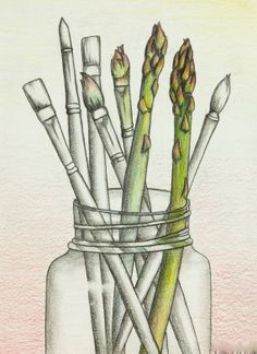 Asparagus paint brushes in jar - colored pencil and graphite drawing