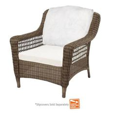 Hampton Bay Spring Haven Grey Wicker Patio Chair with Cushion Insert (Slipcovers Sold Separately)-55-20301 - The Home Depot