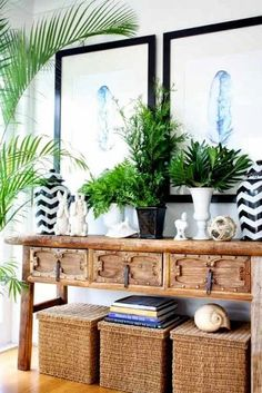 Black, white, greenery, natural elements