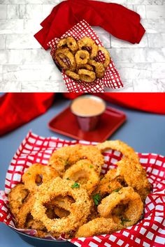 how to fry onions Crispy, Homemade Air Fryer Onion Rings is a quick and easy recipe prepared with a seasoned buttermilk batter, a Vidalia onion, and breadcrumbs. These fried rings are Air Fryer Oven Recipes, Air Fryer Dinner Recipes, Appetizer Recipes, Meat Appetizers, Air Fryer Chicken Recipes, Air Fryer Recipes Videos, Onion Rings Air Fryer, Air Fryer Recipes Onion Rings, Onion Rings Recipe