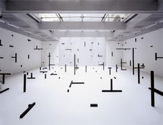 [Image: O. by Esther Stocker, photographed by Rainer Iglar].Here are two projects by artist Esther Stocker. They both use the black, abstract outlines of fragmented spaces to suggest much … Esther Stocker, Instalation Art, Artistic Installation, Light Installation, 3d Studio, Contemporary Abstract Art, Innsbruck, Arte Popular, Italian Artist