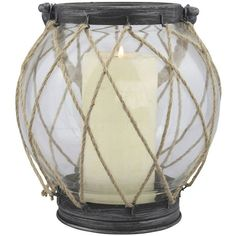 Stonebriar Collection Vintage Nautical Globe Lantern ($63) ❤ liked on Polyvore featuring home, home decor, candles & candleholders, brown, colored lanterns, sea home decor and ocean home decor