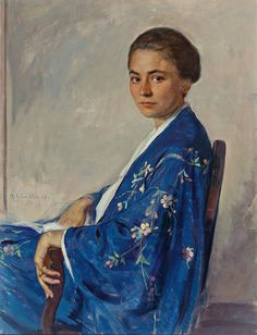 Portrait of a Young Woman in an Embroidered Kimono - Adolf Schmidlin