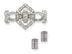 A diamond interchangeable clip brooch and earclip suite,  by Cartier, (2)