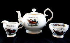 Wolf Moose Canada Tea Coffee Pot Set 3 pieces Queen Anne Fine Bone China Yukon  #QueenAnne