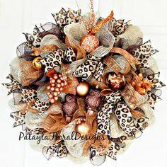 XL Copper Deco Mesh Wreath Christmas Owl by PataylaFloralDesigns