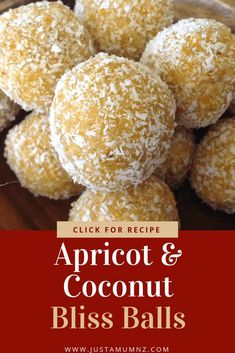 Recipes Snacks Finger Foods Recipes For Kids Delicious Apricot & Coconut Bliss Balls. So easy to make, healthy and quick. The best Healthy Meals For Kids, Healthy Sweets, Healthy Baking, Easy Healthy Recipes, Kids Meals, Healthy Snacks, Healthy Smoothies, Smoothie Recipes, Healthy Fruits
