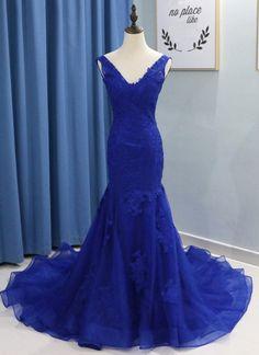 18b05fddc595 Royal Blue party gowns, Lace applique prom gowns, Long party dress, V Neck