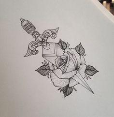 Rose Dagger Tattoo by Medusa Lou Tattoo Artist - medusaloux@outlook.com