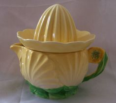 Carlton Ware Buttercup juicer jug, yellow 1936. So quirky!