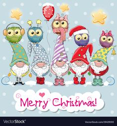 Illustration about Greeting Christmas card with Five Gnomes and five owls. Illustration of drawn, gnomes, five - 105170361 Christmas Rock, Christmas Drawing, Christmas Gnome, Christmas Paintings, All Things Christmas, Christmas Crafts, Christmas Decorations, Christmas Ornaments, Merry Christmas