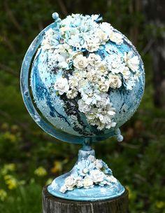 Altered globe for Pyssloteket. Globe Crafts, Map Crafts, Diy Crafts To Sell, Globe Art, Globe Decor, Homemade Art, World Globes, Giant Paper Flowers, Mixed Media Art