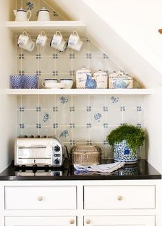 Cute little coffee nook for a guest kitchenette - coffee maker, mini fridge, toaster, or small microwave | Tiny Homes