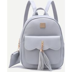 SheIn(sheinside) Grey Embellished Pocket Front PU Backpack (85 RON) ❤ liked on Polyvore featuring bags, backpacks, grey, pu bag, pocket backpack, pocket bag, backpack bags and knapsack bag