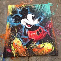 Vintage Mickey Mouse Painting Artist and Designer Shane Grammer painted a mixed media pain. Mickey Mouse Kunst, Vintage Mickey Mouse, Disney Kunst, Arte Disney, Hippie Painting, Artist Painting, Graffiti Art, Disney Pop Art, Punk Disney