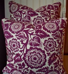 PAIR Decorative Pillow Plum Purple Floral 18X18 Ivory