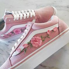 c16a5ca68c Pink Pink RoseBuds Custom Vans Old-Skool Sneakers