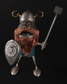 viking robot (he uses found objects to make these, easier versions could be made with your kids!)