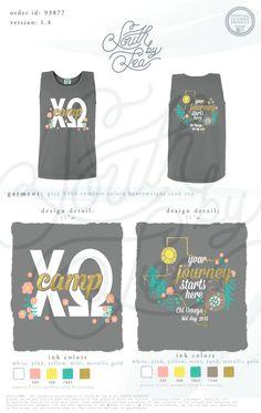Chi Omega | Chi O | Chi Omega Bid Day Tanks | Chi Omega Texas | Camping Bid Day Theme | South by Sea | Sorority Shirts | Sorority Tanks | Greek Shirts