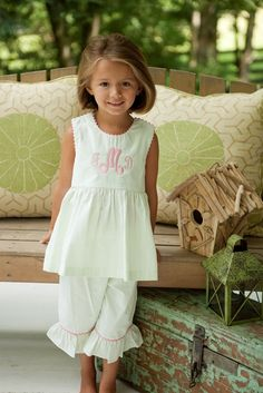 little southern belle with monograms and pantaloons...