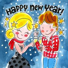 Meisje en jongen toosten op het nieuwe jaar - Greetz