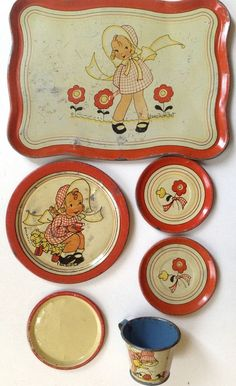 "Vintage 1938 Ohio Art tin-litho toy tea set Fern Bisel Peat ""Gingham Girl"" #OhioArt"