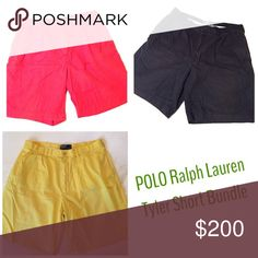 [Polo by Ralph Lauren] Tyler Shorts Bundle Red, navy and yellow shorts. All size 35. All good used condition. **please see original post for additional pictures and details** Polo by Ralph Lauren Shorts