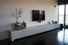 gestuct tv meubel - Google zoeken Media Furniture, Living Furniture, Tv Wall Decor, Inside Home, Contemporary Apartment, Living Room Colors, Home Interior Design, Home And Living, Diy Home Decor