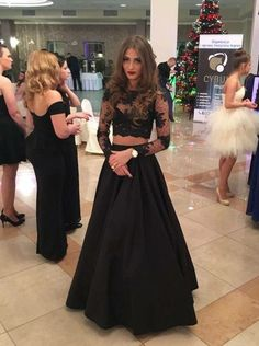 Two Piece Jewel Floor-length Black Long Sleeves Lace Prom Dress