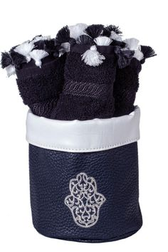 """Embroidered Hamsa towel basket, with black cotton hands towels 3-pieces set. Perfect for gifts or for your house bathroom. Can also be used as a jewelry and make up basket.    Approx Measure : 5.5""""x8""""x6.5   Hamsa Towel Basket  by Le Beau Maroc . Home & Gifts - Home Decor Florida"""