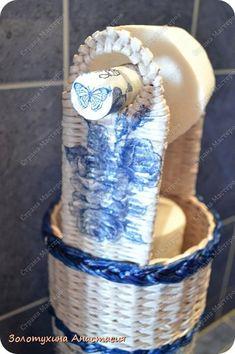 Поделка изделие Декупаж Плетение Напольный держатель для туалетной бумаги №2  Картон Салфетки Трубочки бумажные фото 4